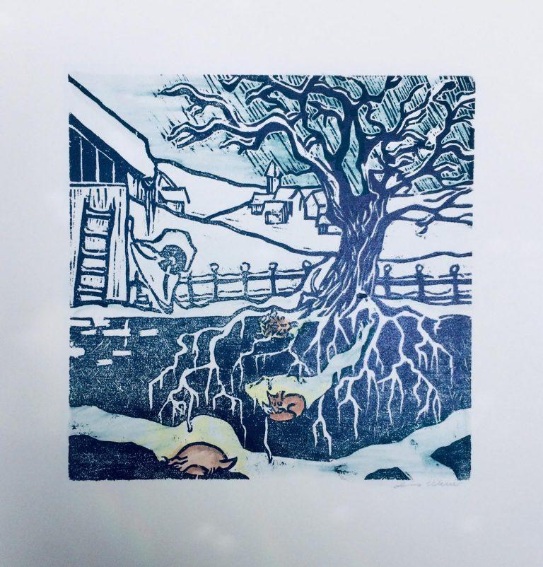 Holzdruck Garten im Januar Kalenderblatt