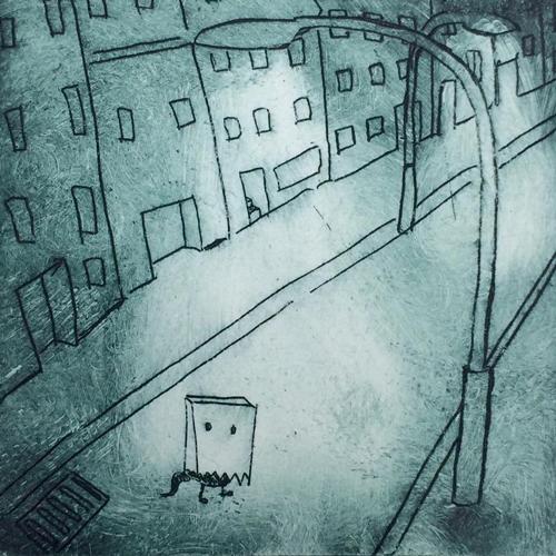 Radierung Monster unterwegs auf der Straße