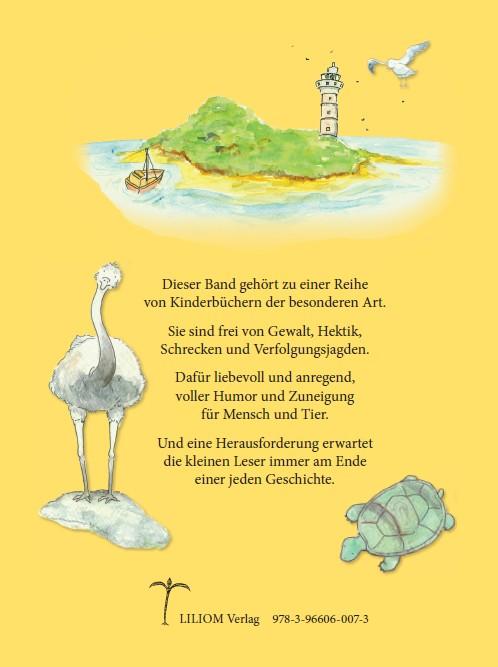 Geheimnisgeschichten Band 4 Rückseite Insel, Vogelstauß und Schildkröte