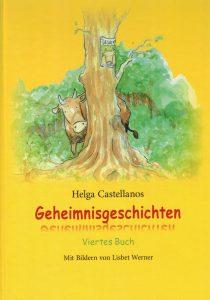 Illustration Geheimnisgeschichten Buch Cover Anna due Kuh versteckt sich hinter einem Baum