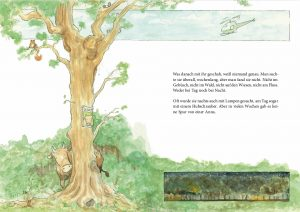 eine Buchseite der Geheimnisgeschichten Band 4 Anna die Kuh versteckt sich hinter einem Baum