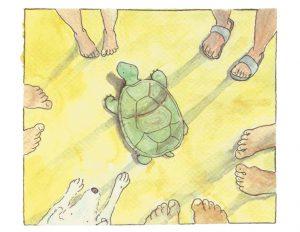 Zeichnung Schildkröte ist umzingelt von Menschen und einem Hund