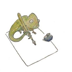 Kleines Chamäleon schreibt einen Brief