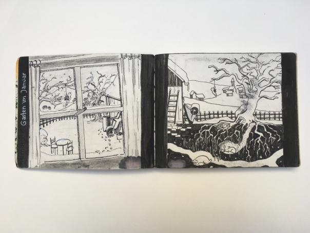 zwei Entwürfe zu dem Thema Garten im januar
