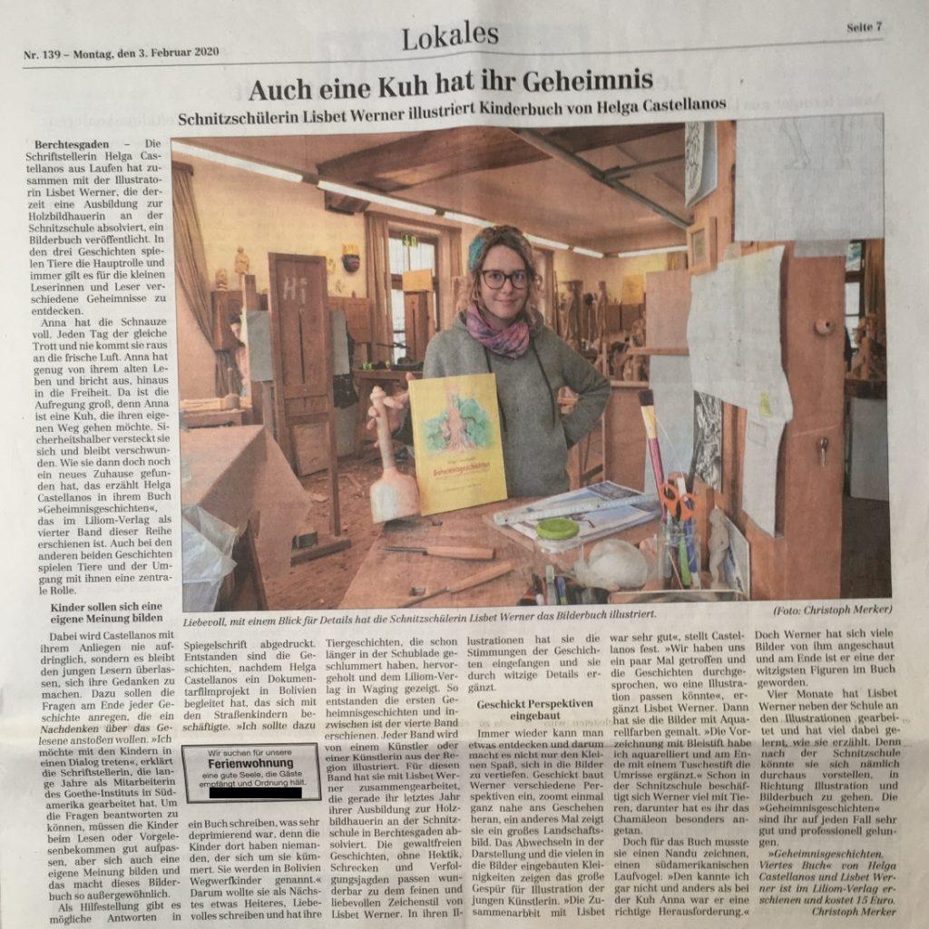 """Zeitungsartikel des Berchtesgadener Anzeigers vom 3. Februar 2020 mit dem Titel """"Auch eine Kuh hat ihr Geheimnis"""""""""""