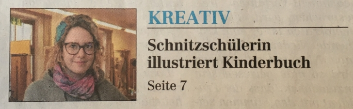 Zeitungsartikel Schnitzschülerin illustriert Kinderbuch