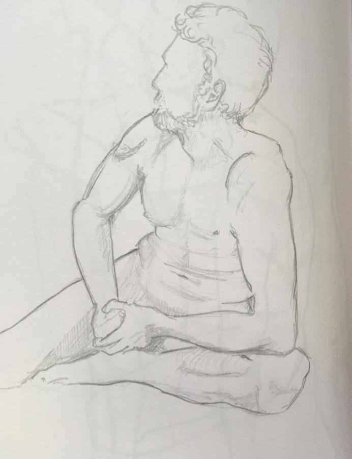 Skizzenbuch Aktzeichnung einen jungen Mannes
