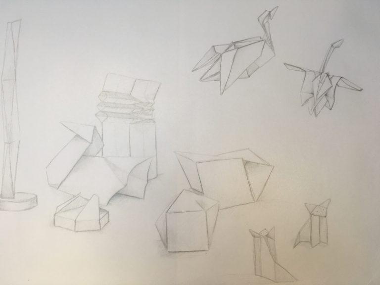 Skizzenbuch Bleistiftzeichnung von Origami und Papier