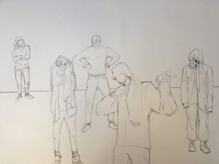 Skizzenbuch vermummte Menschengruppe