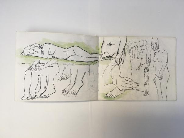 Akizzenbuch Aktzeichnungen, mehrere Hände und Füße