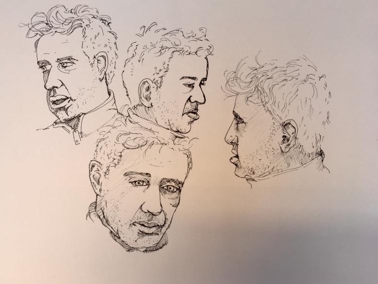 vier Portaits von Neil in Tusche