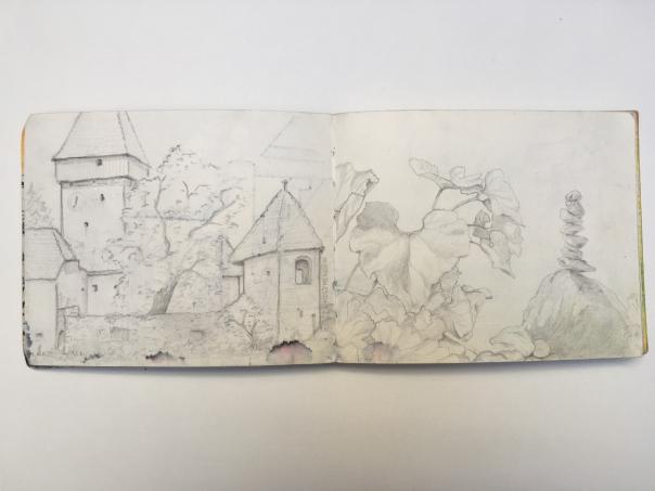 Bleistiftzeichnung von einer Burg und Natur