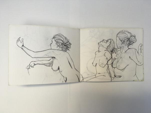 drei Aktzeichnungen einer Dame