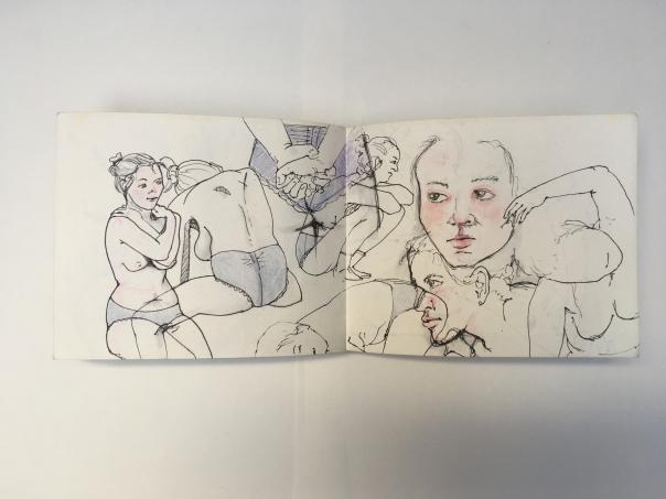 Skizzen einer Dame in blauer Unterhose