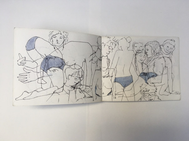 mehrere Skizzen einer Dame in blauer Unterhose