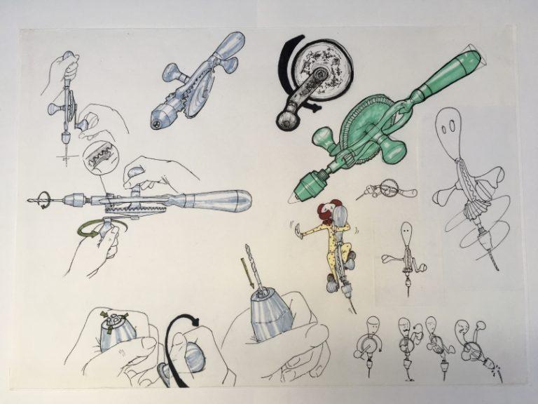 verschiedene Zeichnungen zu einem Handbohrer