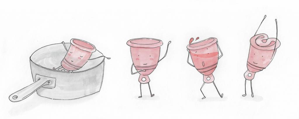 Menstruationstasse Illustration handgezeichnet Sympathiefigur