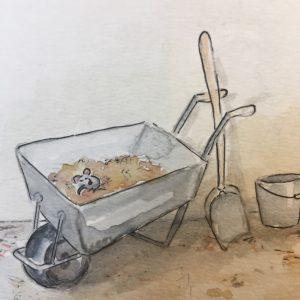 Schubkarre mit Maus