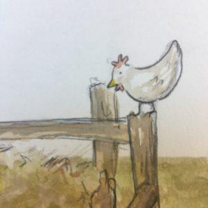 Huhn am Misthaufen
