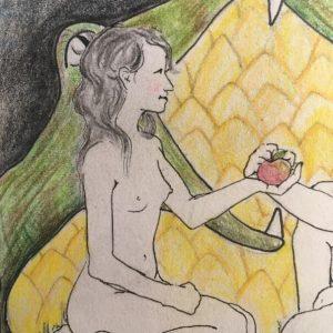 Eva mit Apfel und Schlange