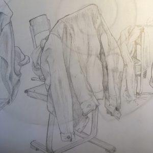 Jacken und Stühle Bleistiftzeichnung