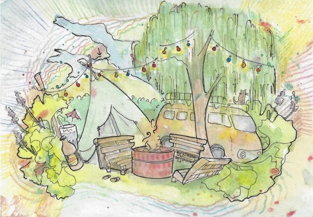 Gartenfest Postkarte Illustration