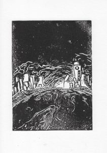 Linoldruck Sterne leuchten